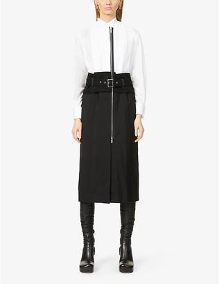 Sacai Belt-applique wool-blend midi dress