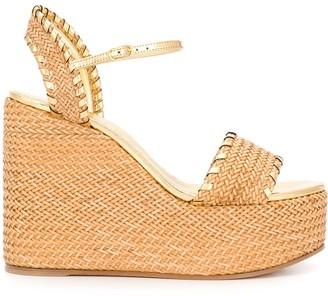 Casadei Woven Wedge Heel Sandals