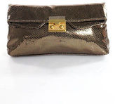 Marc by Marc Jacobs Brown Leather Metallic Embossed Clutch Handbag