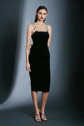 Karen Millen Italian Stretch Velvet Crystal Strap And Bar Dress