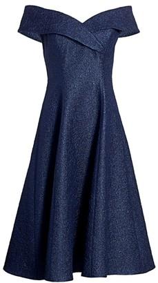 Teri Jon By Rickie Freeman Off-The-Shoulder Jacquard Fit-&-Flare Dress