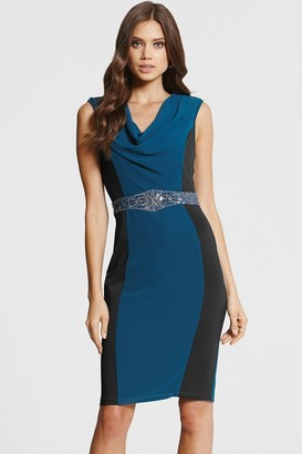 Little Mistress Teal and Black Cowl Neck Bodycon Dress