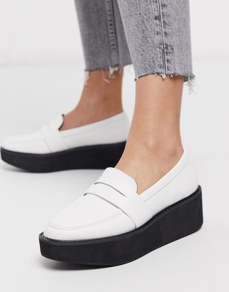 ASOS DESIGN Medic chunky loafer flatform shoes in white