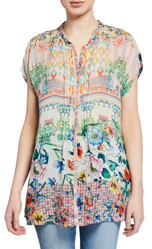 Johnny Was Cali Mixed-Print Button-Front Cap-Sleeve Georgette Blouse