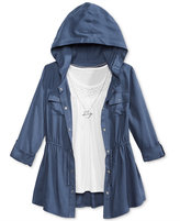 Beautees 3-Pc. Hooded Jacket, Tank Top & Necklace Set, Big Girls (7-16)