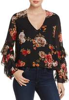Olivaceous Ruffle-Sleeve Floral Print Top