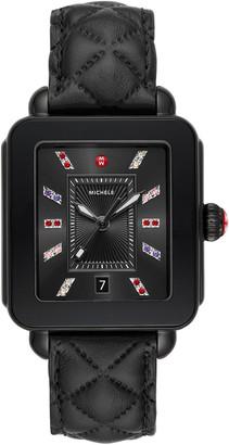 Michele Deco Sport Black Leather Watch