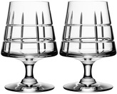 "Orrefors Handcut Grid Patterned Crystal Cognac Glasses ""Street"" (Set of 2)"