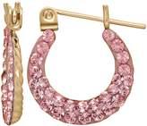 14k Gold Pink Crystal Hoop Earrings - Kids