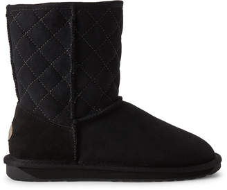 Emu Black Stinger Lo Quilted Shearling-Lined Suede Boots