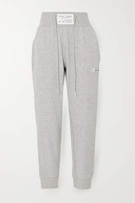 Adam Selman Melange Cotton-blend Jersey Track Pants - Gray