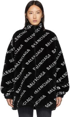 Balenciaga Black Faux-Fur Zip Jacket