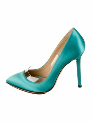 Charlotte Olympia Satin Pointed-Toe Pumps Turquoise