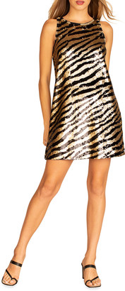 Trina Turk Quartz Sequin Zebra Stripe Shift Dress