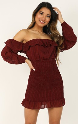 Showpo Every Time The Sun Comes Up Dress in wine - 14 (XL) Dresses