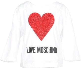 Love Moschino White Cotton Women's Long Sleeve T-Shirt w/Crystals Heart