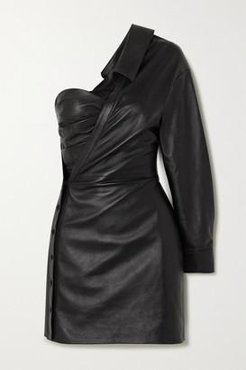 RtA Lana One-sleeve Ruched Leather Mini Dress - Black