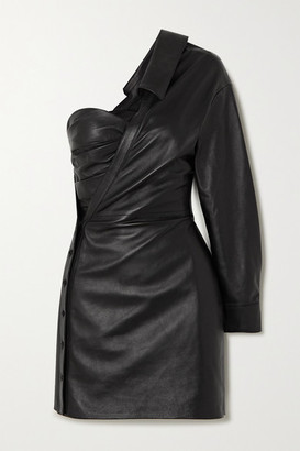 RtA Lana One-sleeve Ruched Leather Mini Dress - Black