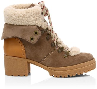 See by Chloe Eileen Lamb Fur-Lined Suede Hiking Boots