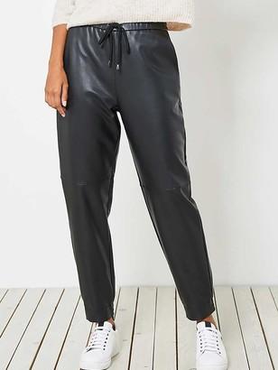 Mint Velvet Faux Leather Joggers - Black