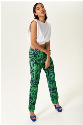 Liquorish Blue and Mint Zebra Print Trousers