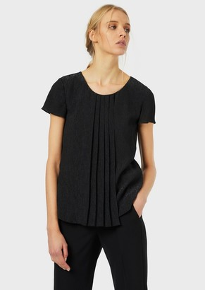 Emporio Armani Lurex Crepe Blouse With Pleating