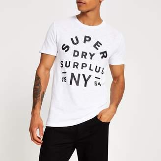 Superdry Mens River Island White logo chest print T-shirt