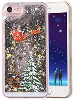 "iPhone 6S Plus / 6 Plus Case, PHEZEN Christmas Tree Santa Claus Design Cool Quicksand Moving Stars Bling Glitter Floating Dynamic Flowing Clear Hard Case For iPhone 6/6S Plus 5.5"" - Black"