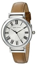 Anne Klein Women's AK/2137SVDT Silver-Tone and Dark Tan Leather Strap Watch