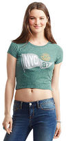Aeropostale Womens Nyc Crest Flag Crop Baby Tee Shirt