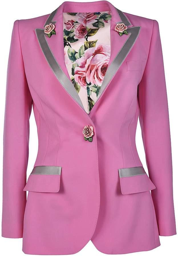 Dolce & Gabbana Single Breasted Rose Blazer