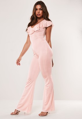 Missguided Nude Slinky Frill Jumpsuit