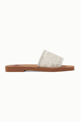 Chloé Woody Leather-trimmed Logo-embroidered Lace Slides - Ivory