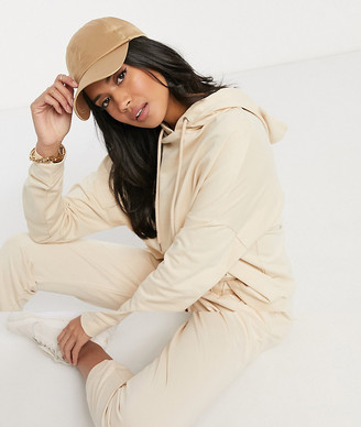 ASOS DESIGN Hourglass tracksuit hoodie / slim jogger with tie in organic cotton in beige