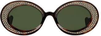 Gucci Oval sunglasses with crystals