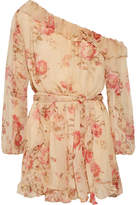 Zimmermann Corsair One-shoulder Ruffled Floral-print Silk-georgette Playsuit - Beige