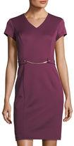 Ellen Tracy Chain-Detail Scuba Sheath Dress