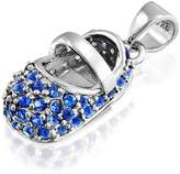 Bling Jewelry Baby Shoe Pendant Simulated Sapphire CZ 925 Silver