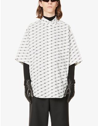 Balenciaga Logo-print slim-fit cotton-poplin shirt