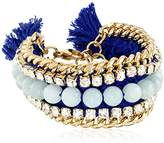 "Ettika Bodacious Royal Blue and Mint Jade Bracelet 8""+1"" Extender"