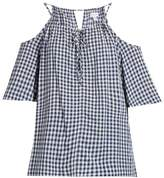 Velvet by Graham & Spencer Nedra cut-out shoulder gingham top