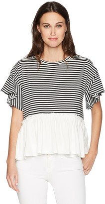 Nicole Miller Women's Ruffle Peplum T-Shirt