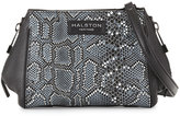 Halston Mosaic Python-Embossed Leather Crossbody Bag, Black Multi