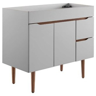 """Modway Harvest 34.5"""" Single Bathroom Vanity Base Only in Gray"""