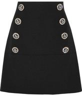 Dolce & Gabbana Embellished Wool-blend Mini Skirt - Black