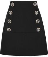 Dolce & Gabbana Embellished Wool-blend Mini Skirt - Black