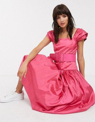 Rachel Antonoff rosie drop waist belted midi dress