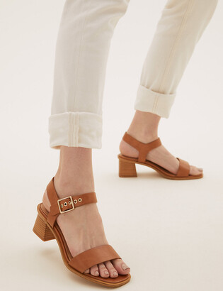 Marks and Spencer Wide Fit Ankle Strap Block Heel Sandals