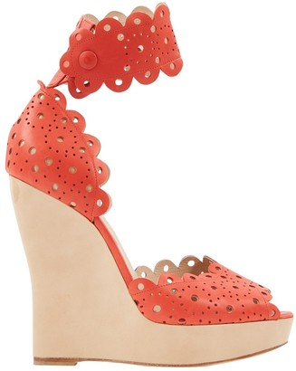Oscar de la Renta \N Red Leather Sandals