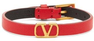 Valentino V-logo Leather Bracelet - Womens - Red